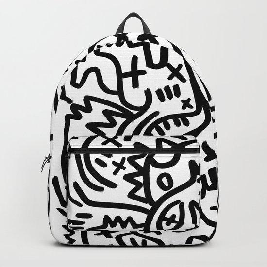 Graffiti Street Art Black and White Backpack