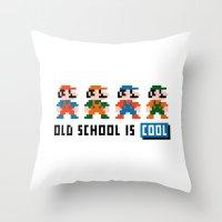 mario Throw Pillows featuring Mario by PixelPower
