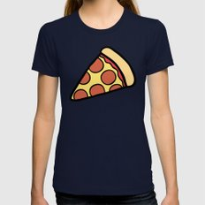 Pepperoni Pizza Pattern MEDIUM Womens Fitted Tee Navy