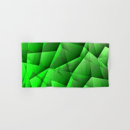 Abstract pattern of green and glowing plates of triangles and irregularly shaped lines. Hand & Bath Towel
