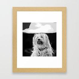 hairy havanese dog vector art black white Framed Art Print