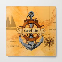 Captain Anchor And Ship Helm Metal Print