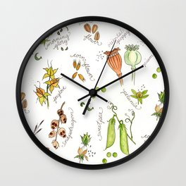 flower's seeds and seedpods Wall Clock