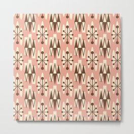 Retro Mid Century Modern Atomic Triangles 727 Brown and Dusty Rose Metal Print