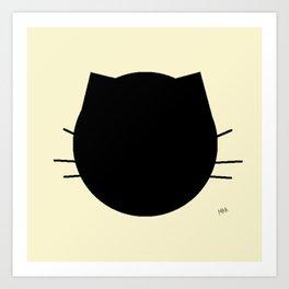 Black cat-Pastel yellow Art Print