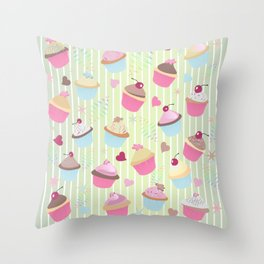 Cupcakes with love Throw Pillow