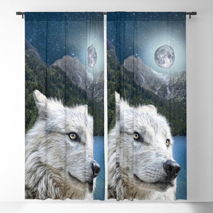 White Wolf and Moonlight Blackout Curtain