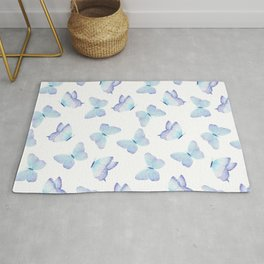 Lilac aqua blue watercolor hand painted butterfly Rug
