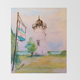 East Chop (Telegraph Hill) Lighthouse Martha's Vineyard Watercolor Throw Blanket