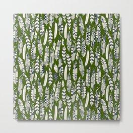 joyful feathers green Metal Print