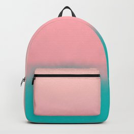 Modern abstract emerald green pink coral ombre Backpack