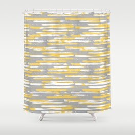 Colorful Stripes, Abstract Art, Yellow and Gray Shower Curtain