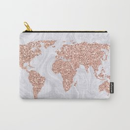 Rose Gold Glitter World Map on White Marble Carry-All Pouch