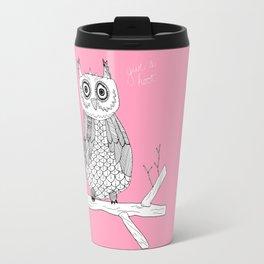 Pink Owl Gives A Hoot Travel Mug