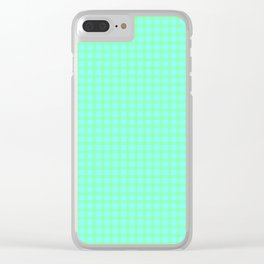 Green On Blue Plaid Clear iPhone Case