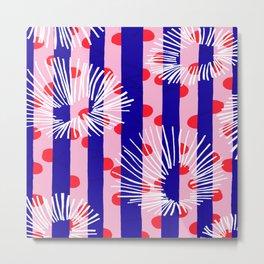 line vertical polka dots circle flower blue pink white Metal Print