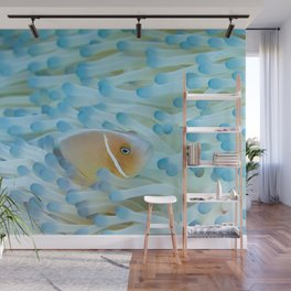 Blue ethereal anemone & clownfish Wall Mural