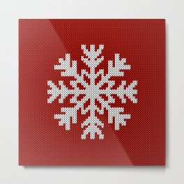 Knitted Christmas decoration white snowflake on red Metal Print