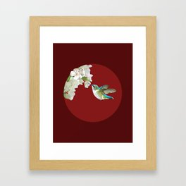 Ruby-Throated Hummingbird at the Blossom Framed Art Print