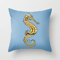 seahorse Throw Pillows featuring Seahorse by Andreas Preis