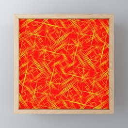 Bright yellow smooth curved lines on a red background for a festive summer and fiery mood. Framed Mini Art Print