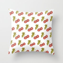 Cherry Watercolor Illustration Pattern Throw Pillow