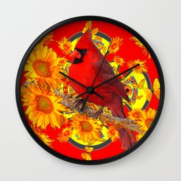 RED CARDINAL YELLOW SUNFLOWERS RED ART Wall Clock