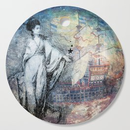 Inspire - A muse and her ship of dreams collage Cutting Board