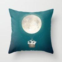 bunnies Throw Pillows featuring moon bunnies by Laura Graves
