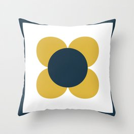 Scandi Flower Single - Retro Minimalist Floral Pattern in Light Mustard, Navy Blue, and White Throw Pillow