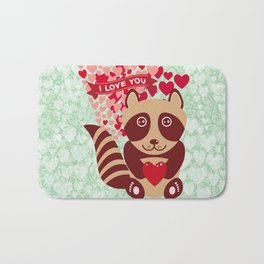 funny raccoon with red heart. I love you Bath Mat