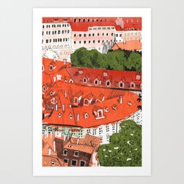 Red Roofs of Prague Cityscape Paper Collage Ink Sketch Art Print