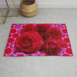 CLUSTER OF RED ROSES ON  RED-VIOLET ABSTRACT Rug