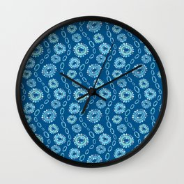 Wavy Toothy Flowers > Blue Wall Clock