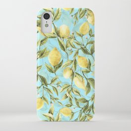 mediterranean summer lemon branches on turquoise iPhone Case