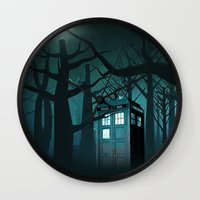 marauders Wall Clocks featuring Tardis in the Forest of The Night by neutrone
