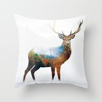 deer Throw Pillows featuring deer by mark ashkenazi