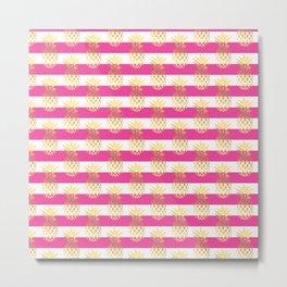 Girly gold pineapple & stripes Metal Print