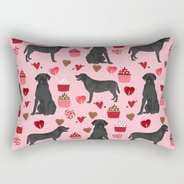 Black Lab love hearts cupcakes valentines day dog breed pet art gifts labrador retriever breed Rectangular Pillow