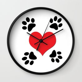 Hearts and 4 Paws Wall Clock