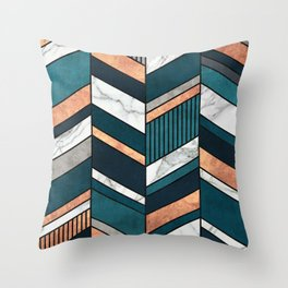 Abstract Chevron Pattern - Copper, Marble, and Blue Concrete Throw Pillow
