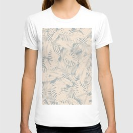 Tropical Plants in Ivory and Vintage Blue T-shirt