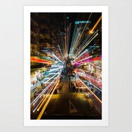 Neon Lights at the Hong Kong Night Market Art Print