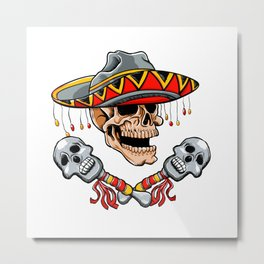 Skull Mexican style with sombrero and maracas Metal Print