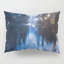 Magical Blue Forest Water Reflection - Nature Photography Pillow Sham