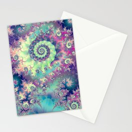 Violet Teal Sea Shells, Abstract Underwater Forest  Stationery Cards