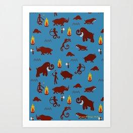 Stone age - Fabric pattern Art Print