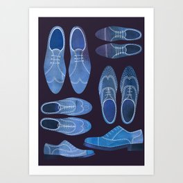 Blue Brogue Shoes for Hipsters & Gentlemen Art Print