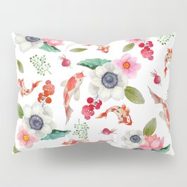 Modern pink red watercolor tropical floral koi fish pattern Pillow Sham