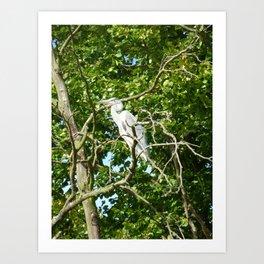 The High Up Heron Art Print